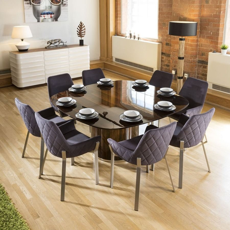 Massive Square Eucalyptus Dining Table + 8 Dark Grey ...