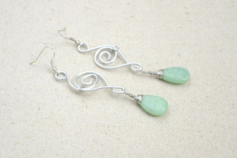 Jewelry designs ideas - handcrafted earrings with jade drop ...