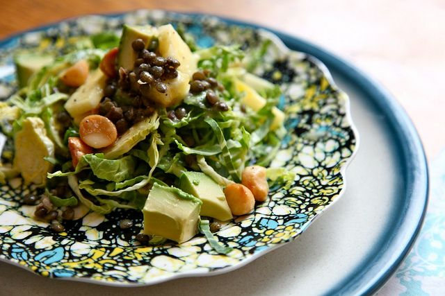 Shaved Brussel Sprout Salad with Pineapple Poppy Seed Vinaigrette (cut lentils for #whole30 )
