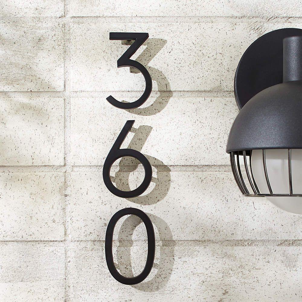 Aurele 4 Matte Black House Numbers Cb2 In 2021 Matte Black House Modern House Number Metal House Numbers