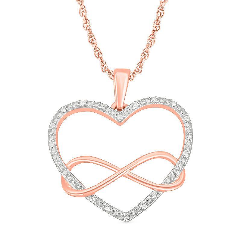 Womens Diamond Accent Genuine White Diamond 10k Rose Gold Heart Pendant Necklace Heart Pendant Necklace Rose Gold Chain Diamond Stone