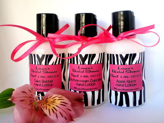 Body Lotion Party Favors in a Hot Pink and Zebra Personalized Label!