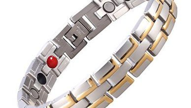 Starista Stainless Steel 4 Element Magnetic Balance Bracelet in Classy Gift Box + Free Link Removal Tool (Silver Gold)