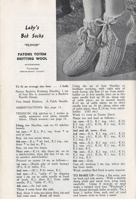 pattern for knitted slipper socks and bed socks | KNITTING | Pinterest