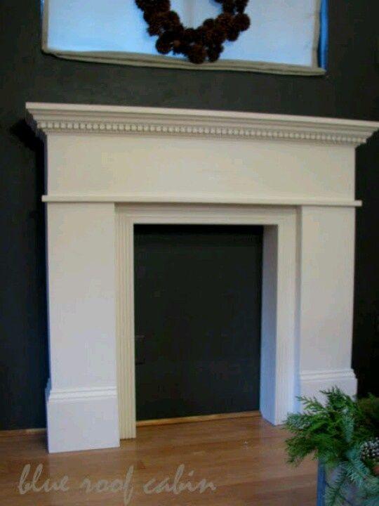 DIY Faux Fireplace Mantel   ... faux fireplace mantel http://www.blueroofcabin.com/2011/12/diy-mantle