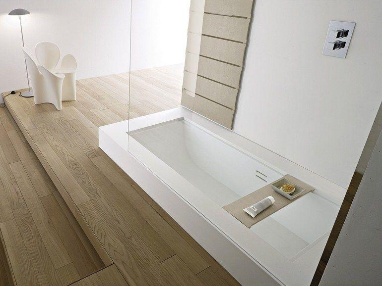 Einbau- Badewanne aus Korakril™ mit Dusche Kollektion Unico by - designer badewannen moderne bad
