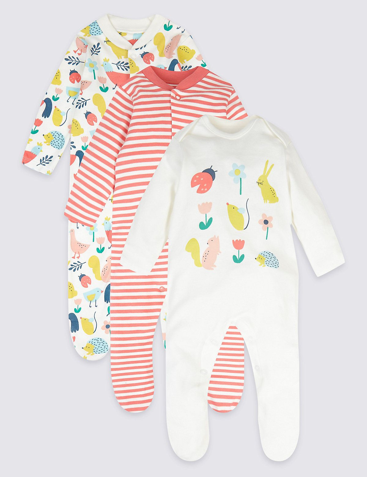 3a2fac96da1df 3 Pack Pure Cotton Bunny Sleepsuits | APPAREL-BABY | Cotton, Baby ...