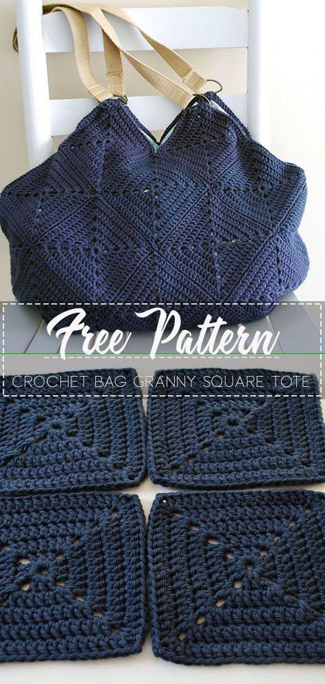 Granny Square Crochet Bag Granny Square Tote  Free Pattern  Free Crochet