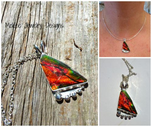 Beautiful Ammolite gemstone and sterling silver necklace