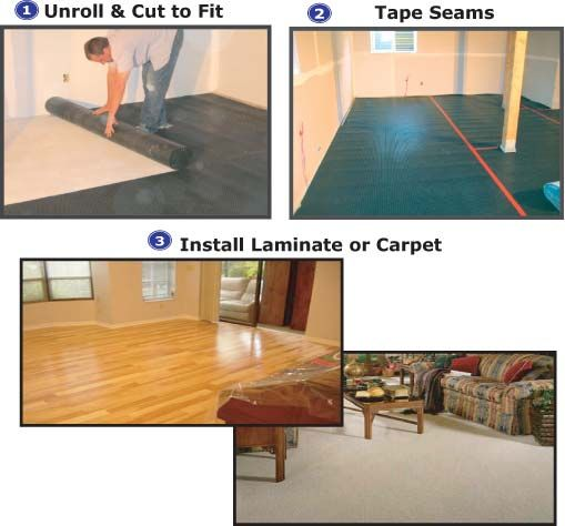 Superseal All In One Subfloor Laminate Engineered Wood Subfloor All In One 3 Step Process Basement Makeover Diy Basement Basement Decor
