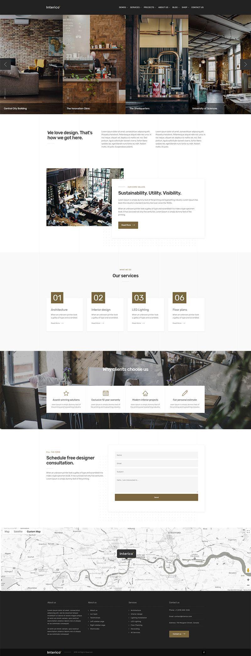 room design website on Interico Interior Design Architecture WordPress Theme Architecture Architecture Design Kitchen Design Website