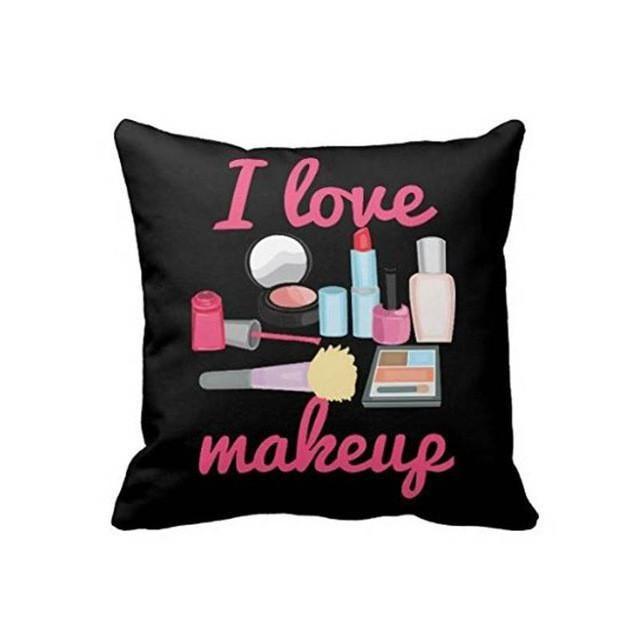 I Love Makeup Cosmetics Personalized Cushion Cover Sofa