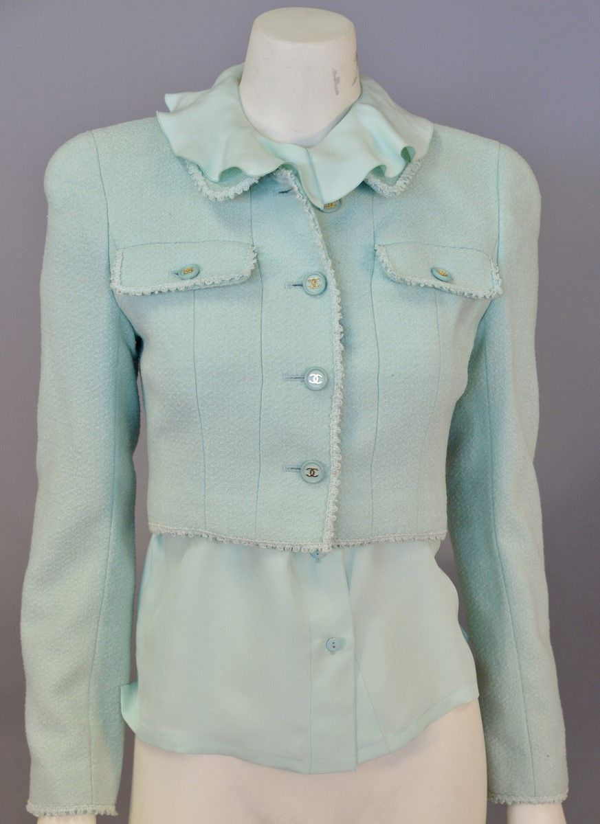 eeed18d72f45b Lot 466  Chanel two piece lot with tweed mint green cropped jacket and mint green  silk dress shirt with ruffled collar.