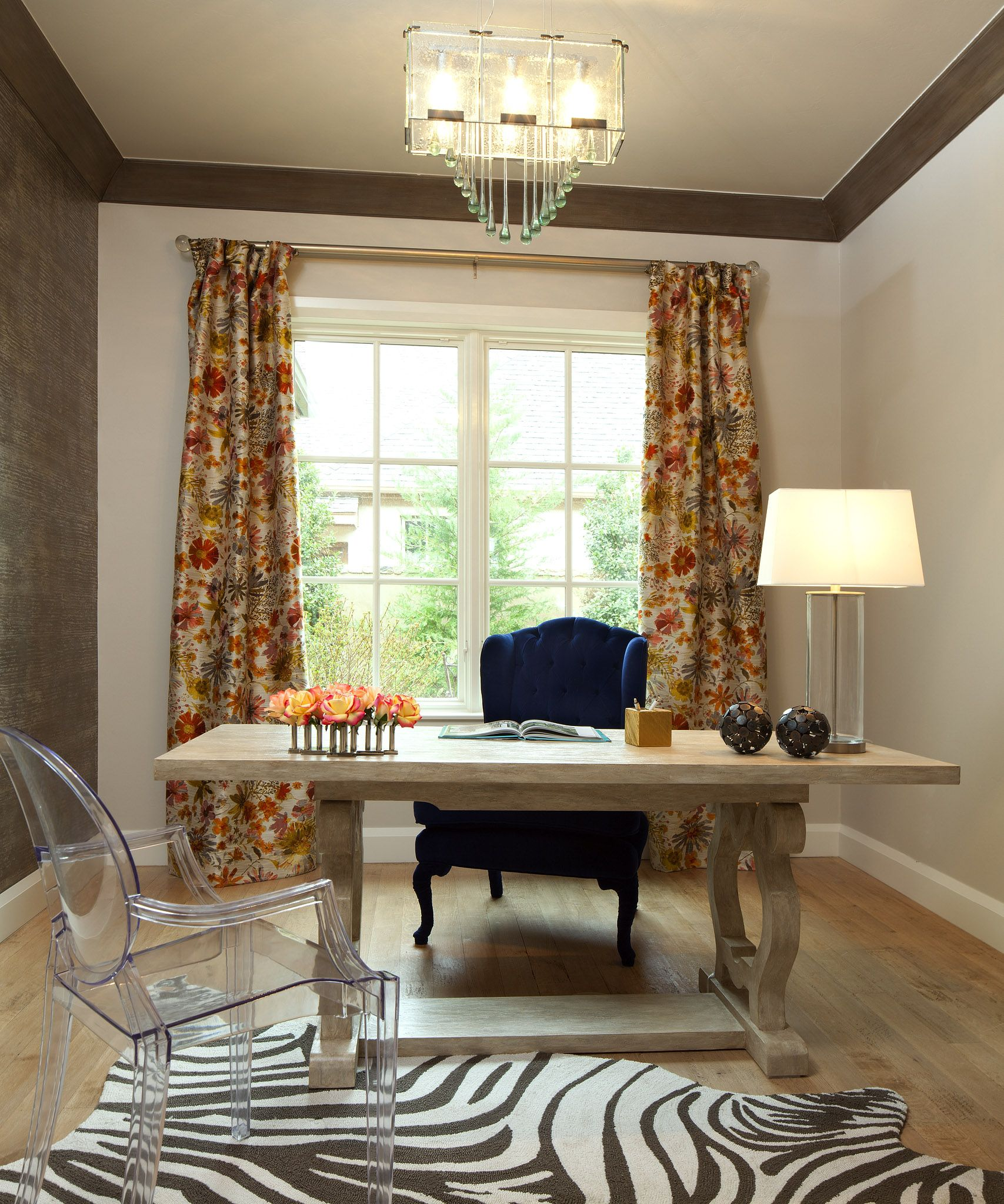 eclectic home office. Eclectic Office With Navy Wingback Chair And Farmhouse Touches. Design By Bella Vici. Home