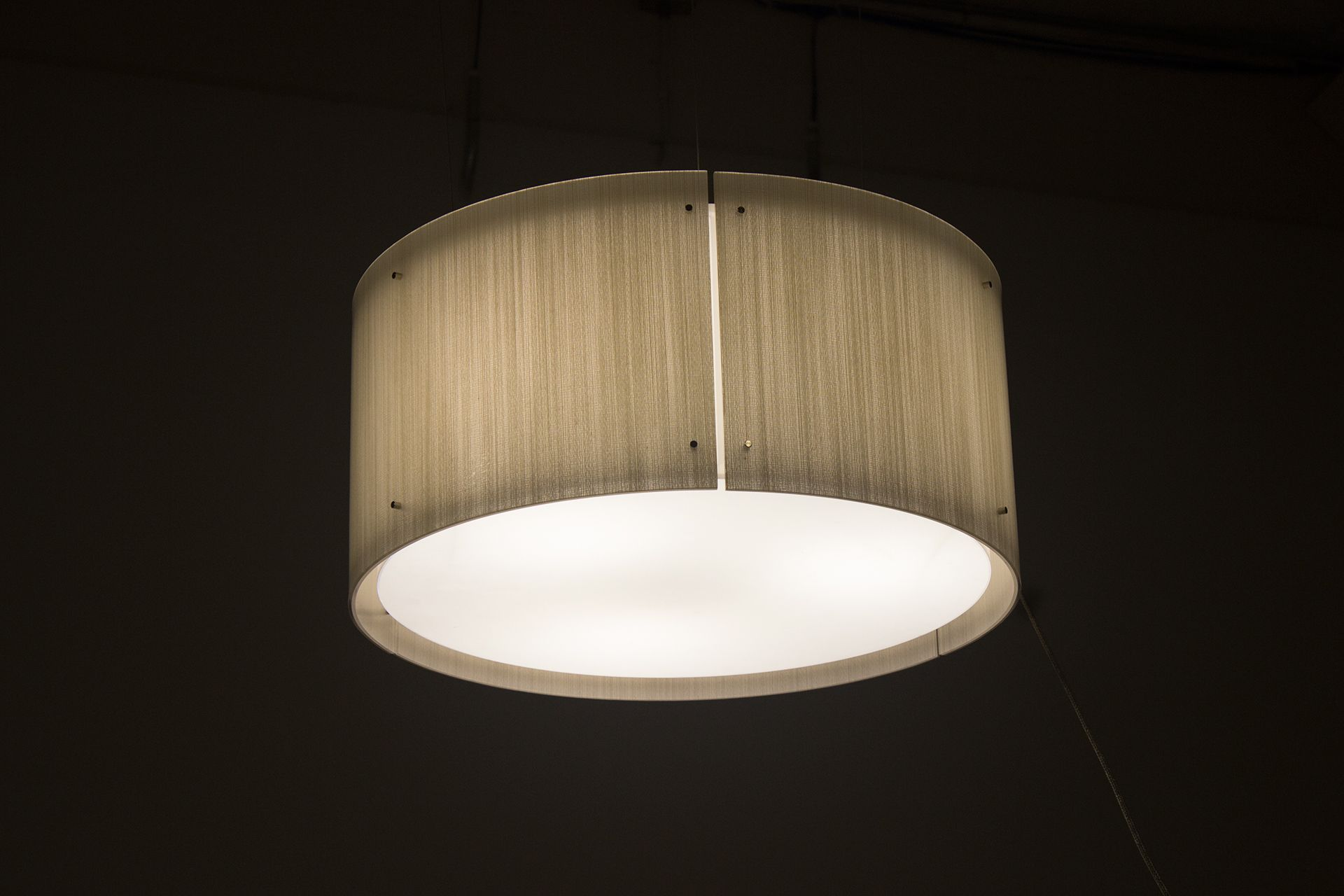 Drum style light fixture lightart custom lighting handmade in seattle made from 3form varia ecoresin
