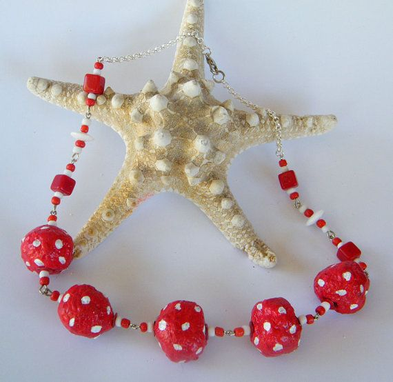 Upcycled NECKLACE Gift Under 30 Red Polka Dots Gift by RecycoolArt, $25.00