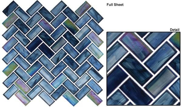 Cobalt Sea 1x2 Herringbone Mosaic Tiles Mosaic Glass