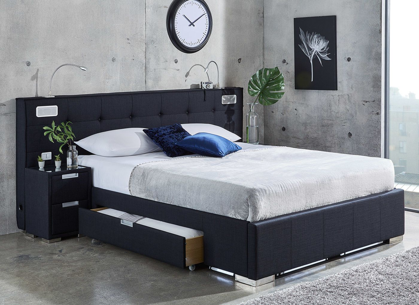 cole midnight blue fabric bed frame with sound system and bedside