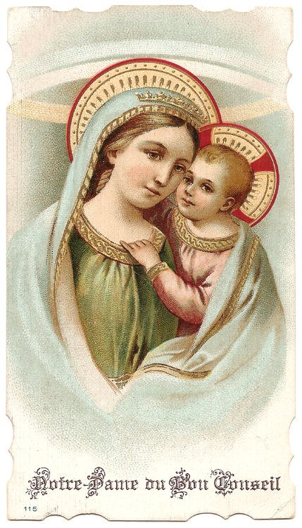 Our Lady of Good Counsel & Baby Jesus Antique Holy Card
