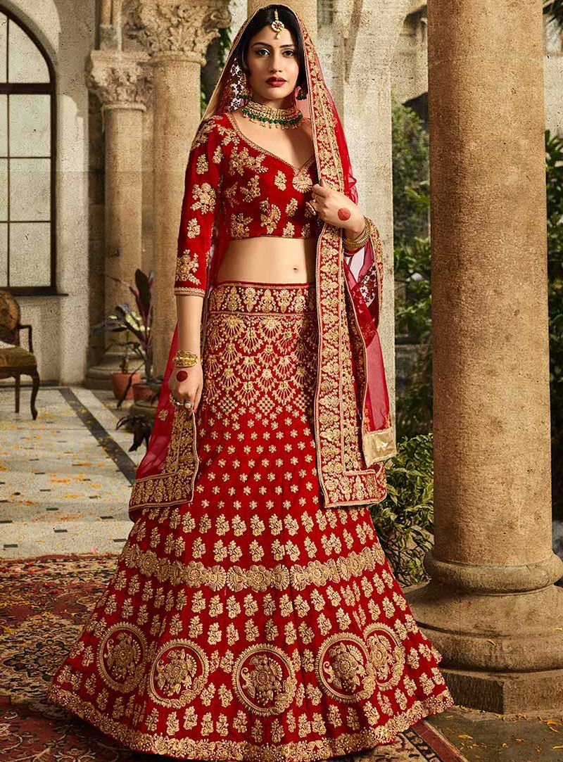 Surbhi Chandna Red Silk A Line Lehenga Choli 117599 | Lehenga ...