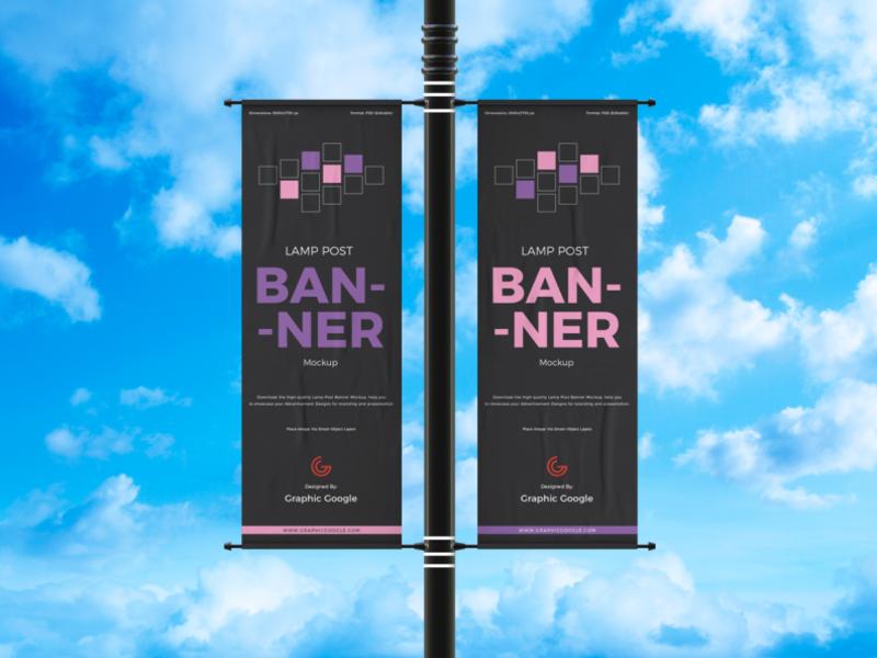 Free Outdoor Advertisement Lamp Post Banner Mockup In 2021 Mockup Design Mockup Templates Standing Banner Design