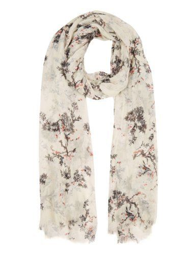 M&S Collection Modal Blend Blossom Bird Scarf-Marks & Spencer