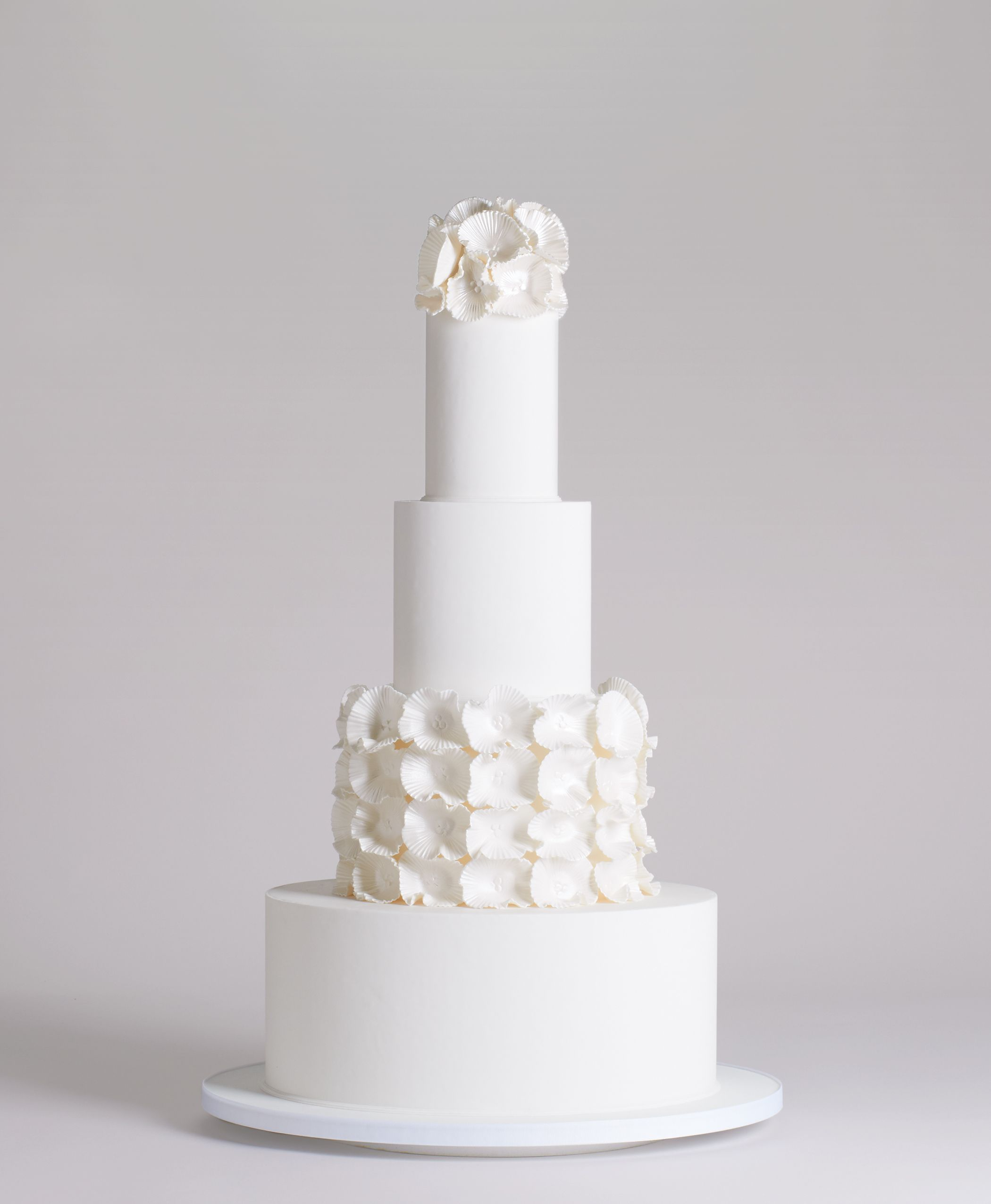 4 Tier Abstract Flower White Cake | BL | Wedding Inspiration ...
