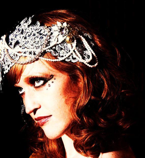 silver lace headdress. $70.00, via Etsy.