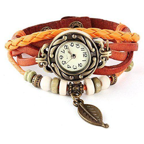 Reloj De Pulsera Cuarzo Cuero Trenzado Mariposa Retro Para Mujer Vintage Por Angelo Caro Tiendarelojes Reloj De Pulsera Cuero Trenzado Reloj