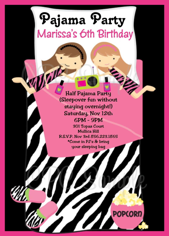 Sleepover Birthday Party Invitation - Printable | Sleepover ...