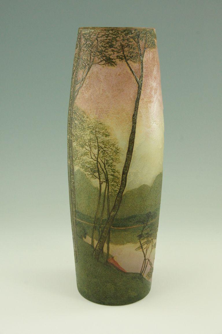 Art nouveau cameo glass landscape vase with enamel by legras art nouveau cameo glass landscape vase with enamel by legras reviewsmspy