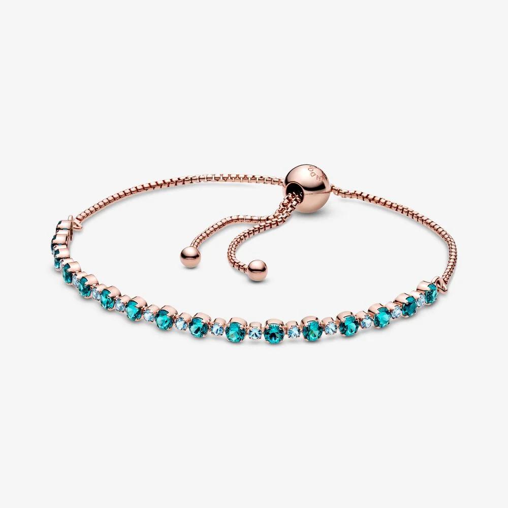 Turquoise Sparkling Slider Tennis Bracelet Rose Gold Pandora Us In 2020 Pandora Turquoise Pandora Chain Bracelet Pink Bracelet