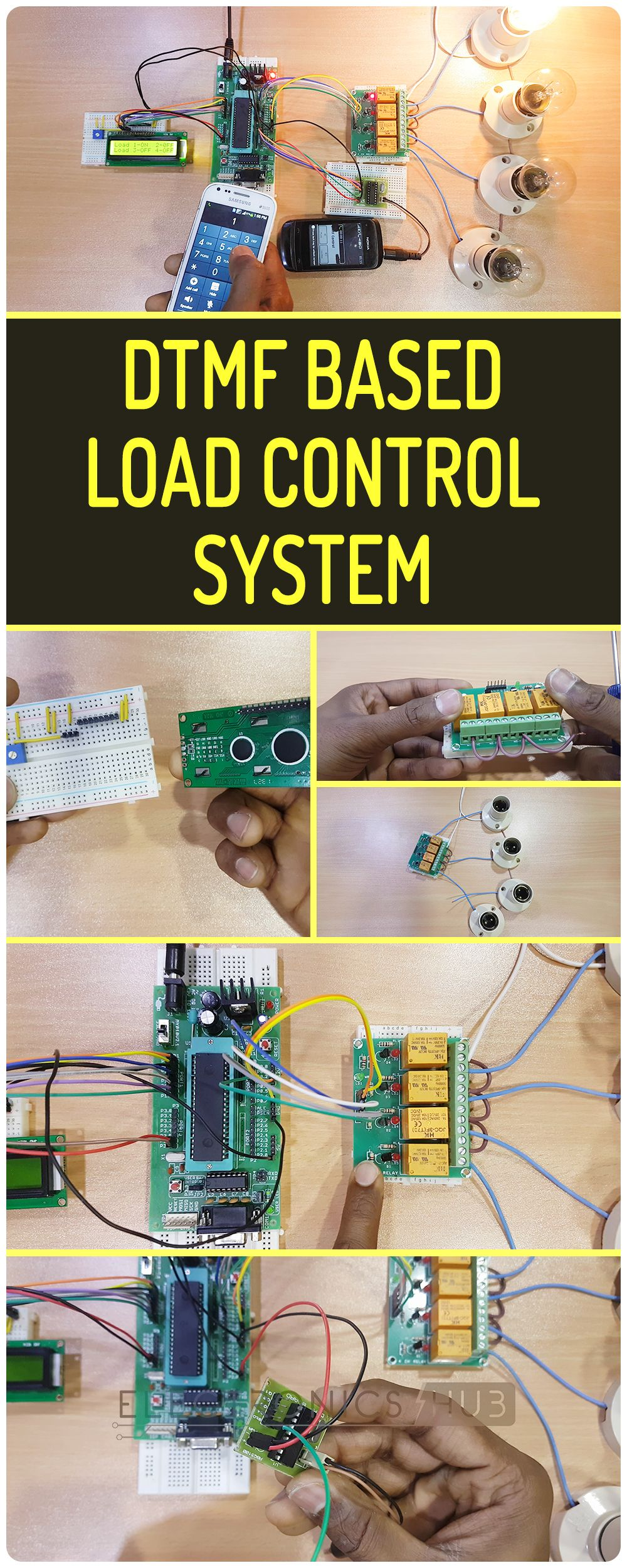 Dtmf Based Load Control System Using 8051 Microcontroller Electronics Project Circuit Diagram Pinterest Arduino And