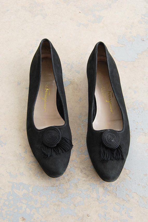 4d289128790 vintage 1980s Ballet Flats - 80s Black Suede Tassel Loafers Salvatore  Ferragamo Shoes Sz 7.5 38