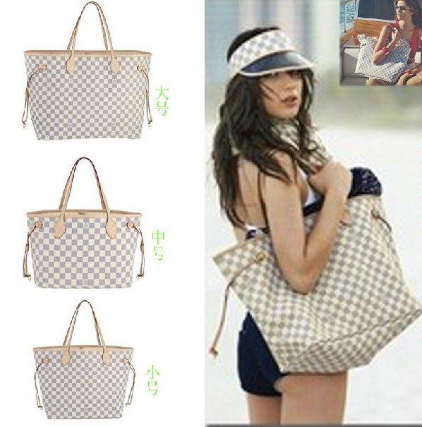 38 00 Usd Louis Vuitton Lv White Azur Canvas Neverfull Bag Handbag