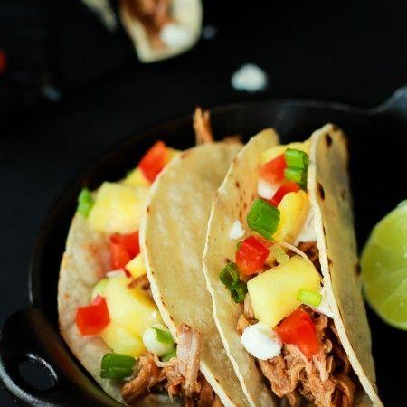 An easy Crock Pot Recipe your family will love! Taste the islands with these Hawaiian Pork Tacos! | www.joyfulhealthyeats.com #recipes