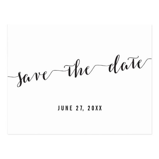Black And White Custom Save The Date Postcard