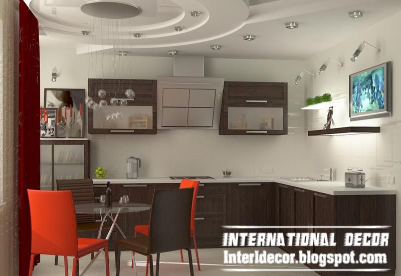 Gibson Board False Ceiling Design For Kitchen Interior With Modern Lighting