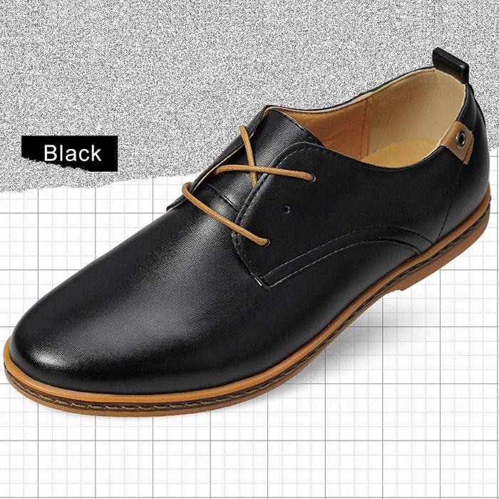 Nouvelle tendance 2015 hommes chaussures en cuir chaussures Casual en cuir  noir   Brown Lace up chaussures plates en cuir mocassins Sneakers dans  Mocassins ... f6647836e25