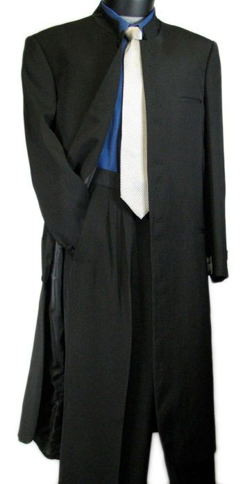 "PROMOTION!! 45"" FASHION MEN 10B MANDARIN COLLAR ZOOT SUIT BLACK tb13 #VittorioStAngelo #10Button"