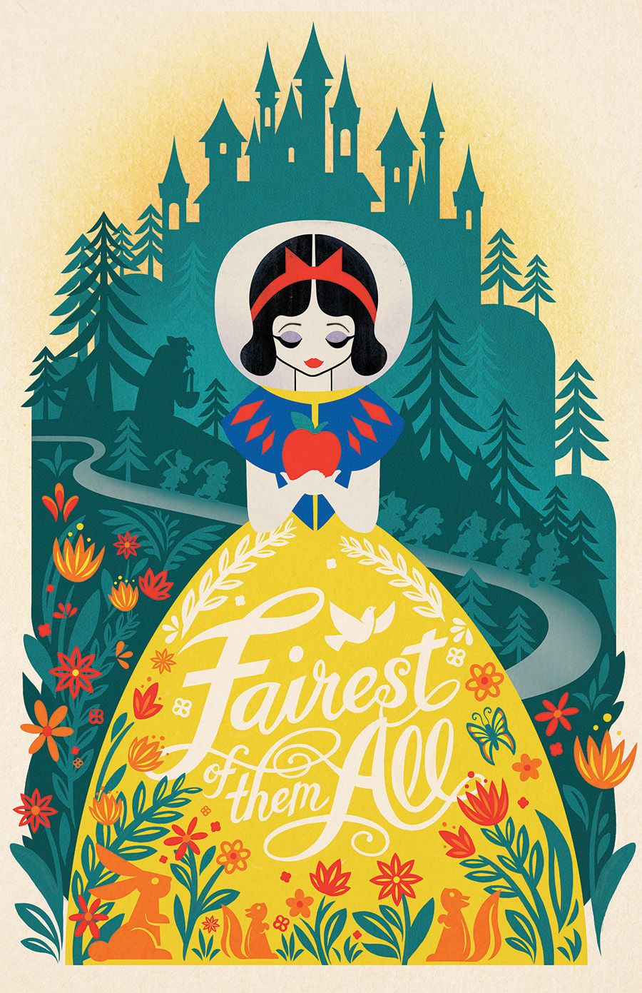 My illustration for Disney Store's The Art of Snow White! -Stacey Aoyama #snowwhite