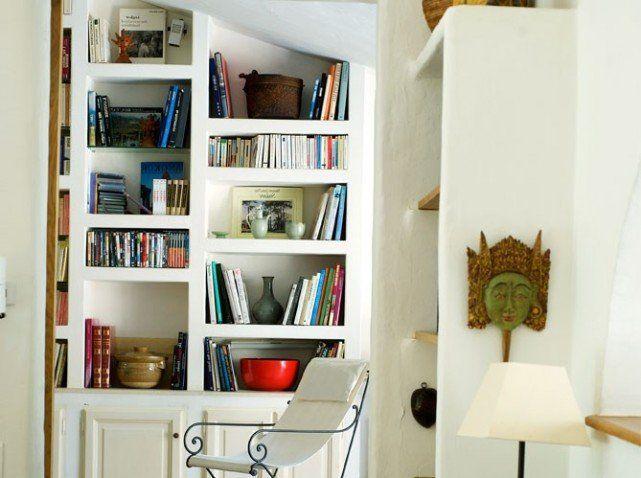 Biblioth que ma onn e id e avec portes coulissantes color es vintage niches murales - Bibliotheque porte coulissante ...