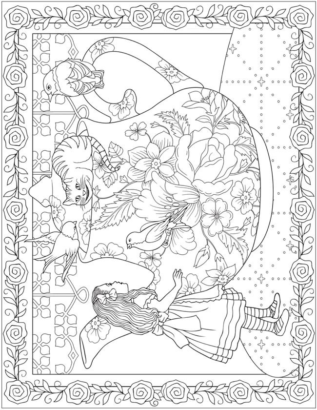 Creative Haven Alice In Wonderland Designs Coloring Book Dover Publications