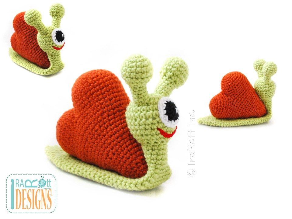 Crochet Pattern PDF for making Amigurumi Snail Monster with a Heart   <3