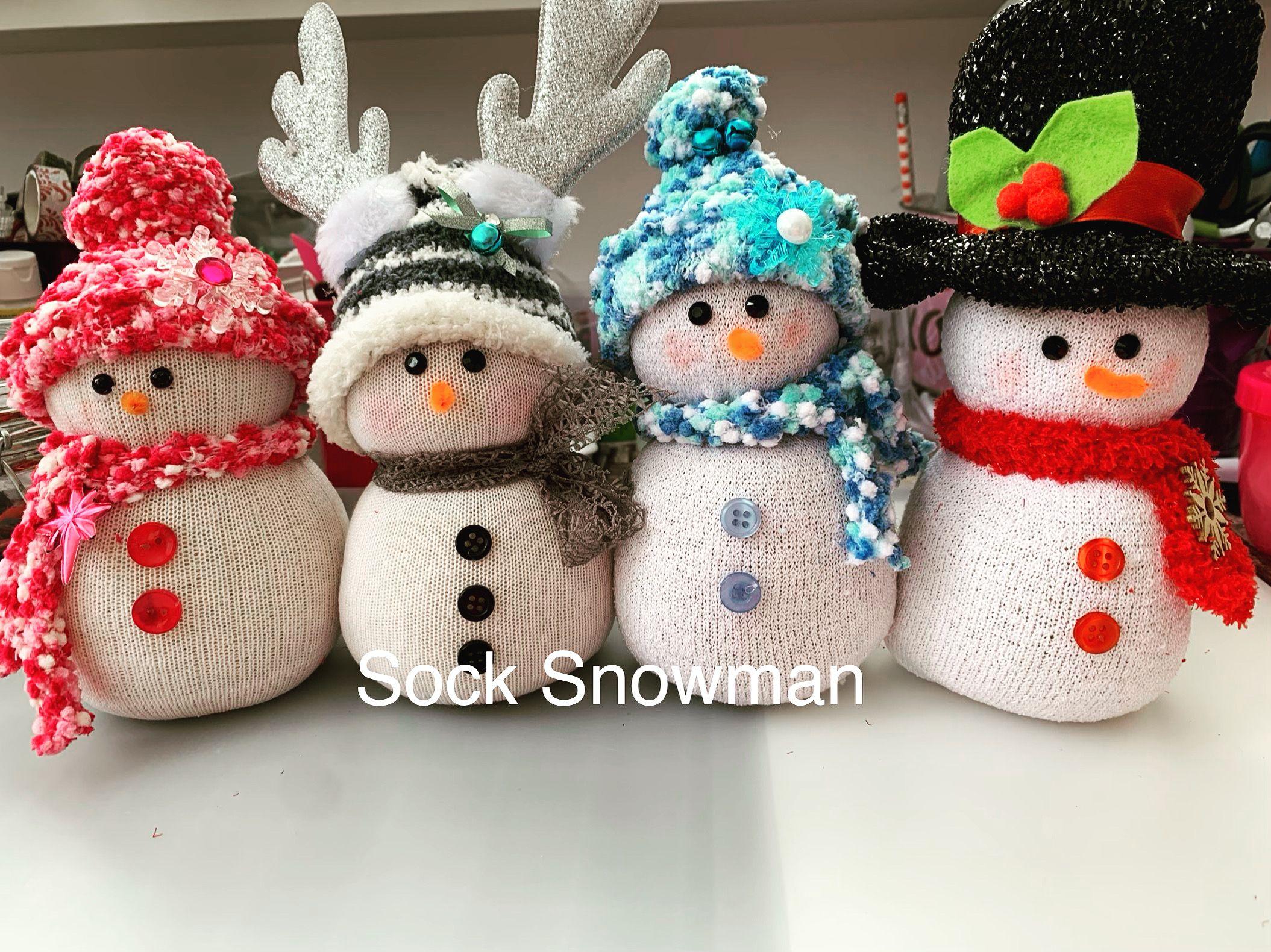 Diy Sock Snowman Diy Snowman Decorations Diy Snowman Ornaments Sock Snowman Craft
