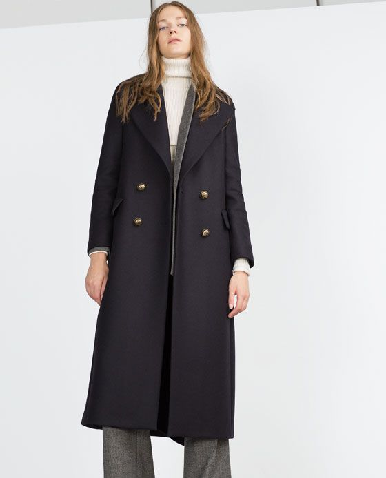 Image 1 of EXTRA LONG COAT WITH METALLIC BUTTONS from Zara ...
