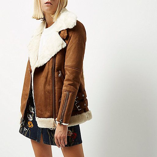 Aviator Tan Oversized Jacket Coats Biker Jackets VSqUMzp