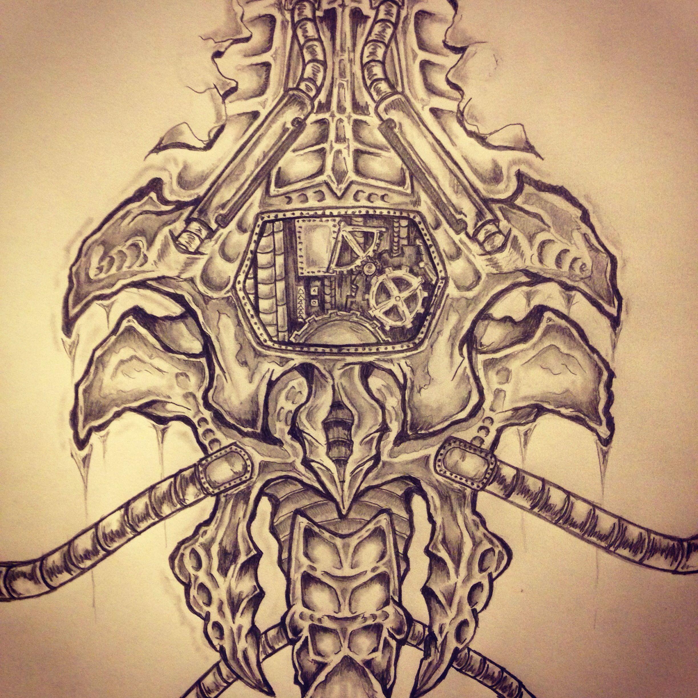 Biomechanical tattoo sketch by Ranz