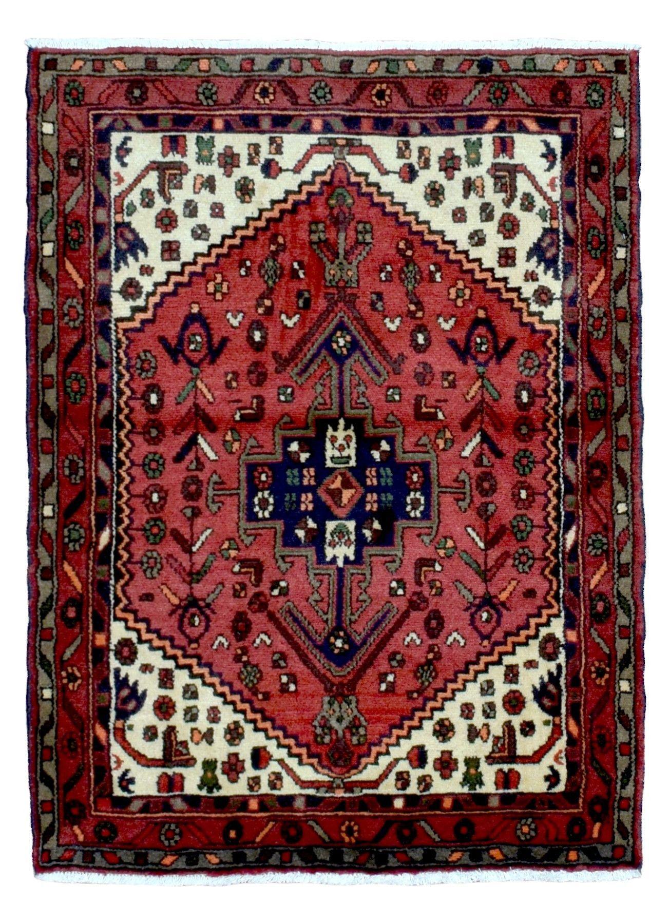 Semi-Antique Red and Beige Persian Hamadan Oriental Rug 3'4X4'6