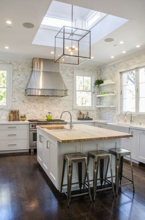 Charmant White Kitchen With Dark Wood Floors Square Gold Glass Pendant Lights Marble  Backsplash Wood Countertop